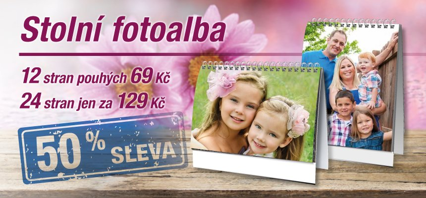 Stolní fotoalba -50 % cena pouhých 69 Kč